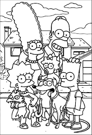 simpsons family street coloring wecoloringpage