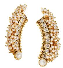 ear cuffs india buy the jewelbox 22k gold plated festive american diamond pearl