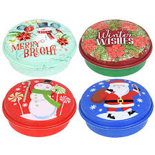 bulk round plastic printed christmas containers with lids 9 in