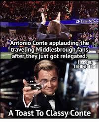 Antonio Meme - chelsea fcc antonio conte applauding the traveling middlesbrough