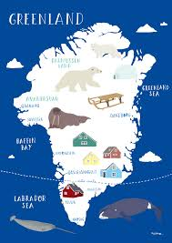 Map A Trip A Map Of Greeland Place Of Polar Bears Inuits Narwals Arctic