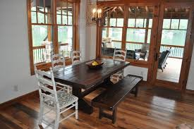 Trestle Dining Room Table Sets The Emerson Rustic Trestle Table With Bench Traditional Dining