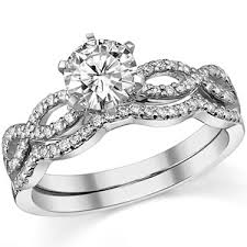 wedding set forever one diamond infinity style twisted wedding set 1 3ct