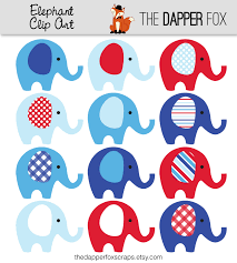 red and blue elephant clip art instant download boy baby