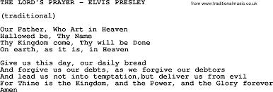 the lord u0027s prayer elvis presley txt by elvis presley lyrics