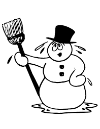 melting snowman clipart black and white clipartxtras