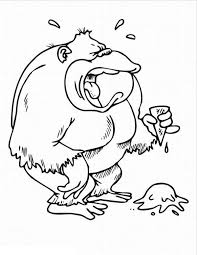 gorilla is crying for his ice cream coloring page gorilla is