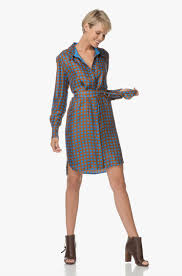 diane von furstenberg silk shirt dress tile blue 10394dvf muktb