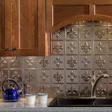 fasade kitchen backsplash panels fasade fleur de lis brushed nickel 18 in x 24 in backsplash