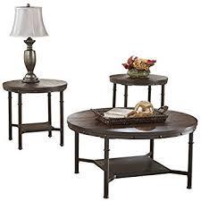 brown coffee table set amazon com ashley furniture signature design sandling occasional
