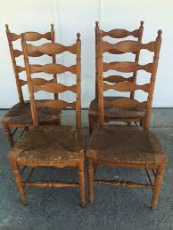 Antique Oak Ladder Back Chairs D D U0027s Cottage And Design 4 Ladder Back Chairs With Rush Seats