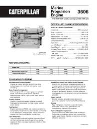cat 3606 propulsion spec sheets caterpillar marine power systems