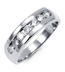 mens diamond wedding band 14k white gold mens diamond channel set wedding ring wedding