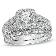 bridal set wedding rings 1 1 4 ct t w princess cut diamond frame bridal set in 14k white