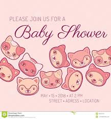 baby shower invitation card cat theme stock vector image 45621042