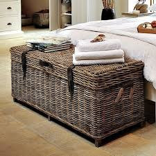 storage bedroom bench wicker rattan box chest seat cushion trunk