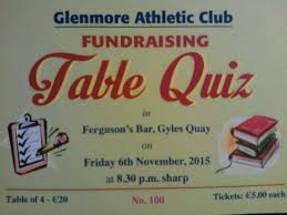Table Of 4 by Fundraising Table Quiz This Friday 6th Nov Glenmore Athletic Club