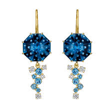 blue topaz earrings diamond and blue topaz earrings madstone design the