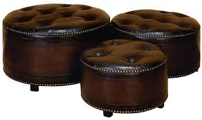 Ottoman Footstools Wl57993 Set 3 Brown Leather Ottoman