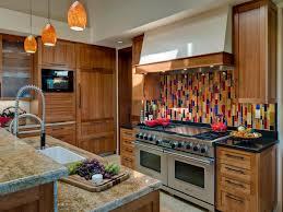 multi color kitchen ideas contemporary kitchen with multicolor glass tile backsplash