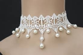 choker style pearl necklace images Gothic retro white lace collar pearl pendant necklace wedding jpg