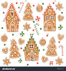 set christmas gingerbread sweets candies cookies stock vector