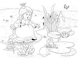 frog prince fairy tale illustration children coloring