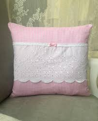 coussin 40x40 coton vichy rose blanc broderie anglaise dentelle