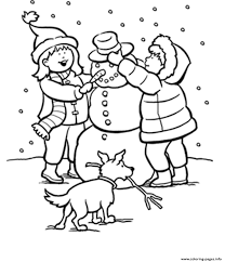 winter snow kids making snowman 9baa coloring pages printable