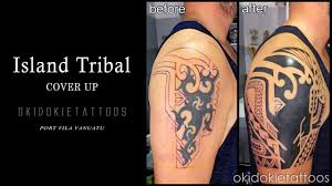 tribal cover up tattoo youtube