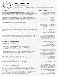 Professor Resume Objective Theatre Instructor Resume Sample