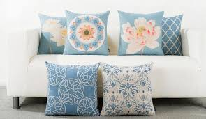 Decorative Pillows For Sofa by Chinese Style Lotus Flower Throw Pillows Geometric Blue Sofa