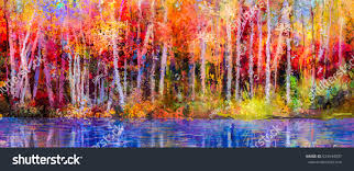 oil painting colorful autumn trees semi stock illustration