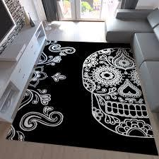 jugendzimmer teppich moderner teppich schwarz weiß kunstvoll design totenkopf motiv neu