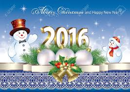 happy new year 2016 with snowmen in decorations royalty