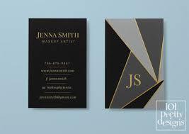 Makeup Business Cards Designs Modern Geometric Business Card Makeup Business Card Black