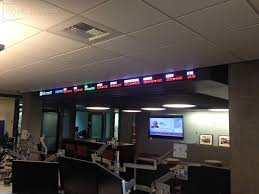 microsoft trading room stock ticker rise display