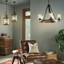 Dining Room Chandelier Vineyard Metal And Wood 6 Light Chandelier With Seeded Glass