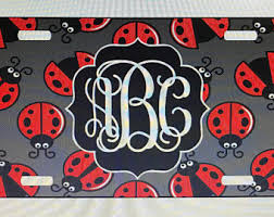 Bug Na Rug Silver Monogrammed License Plate Silver Personalized License