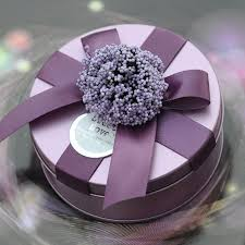 wedding candy boxes wholesale flower tin plate candy boxes purple ribbon wedding