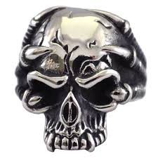surgical steel band mens talon claw skull ring stainless steel band