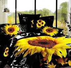 Duvet 100 Cotton 3d Sunflower Leopard Printed Cotton 4 Piece Black Bedding Sets