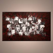 Abstract Home Decor Modern Home Decor Red White Grey And Black Abstract Painting