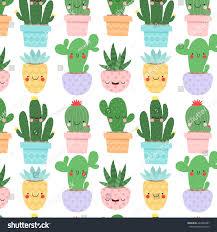 pattern cute cartoon cactus succulents funny stock vector