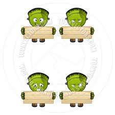 cartoon halloween frankenstein monster holding a wooden board by