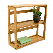 3 tier bamboo stackable folding bookcase storables
