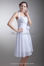 allens bridal chiffon halter neckline knee length a line sash