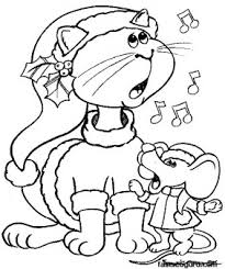 printable christmas mouse cat carollers singing coloring pages