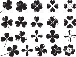 four and three leaf clover silhouettes vector clipart image 34547