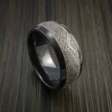 Meteorite Wedding Ring by Gibeon Meteorite In Black Zirconium Wedding Band Made To Any
